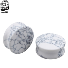 Fashion Body Piercing Jewelry White Howlite Organic Stone Ear Plugs Gauges Ear Expander Stretcher Earring(China)