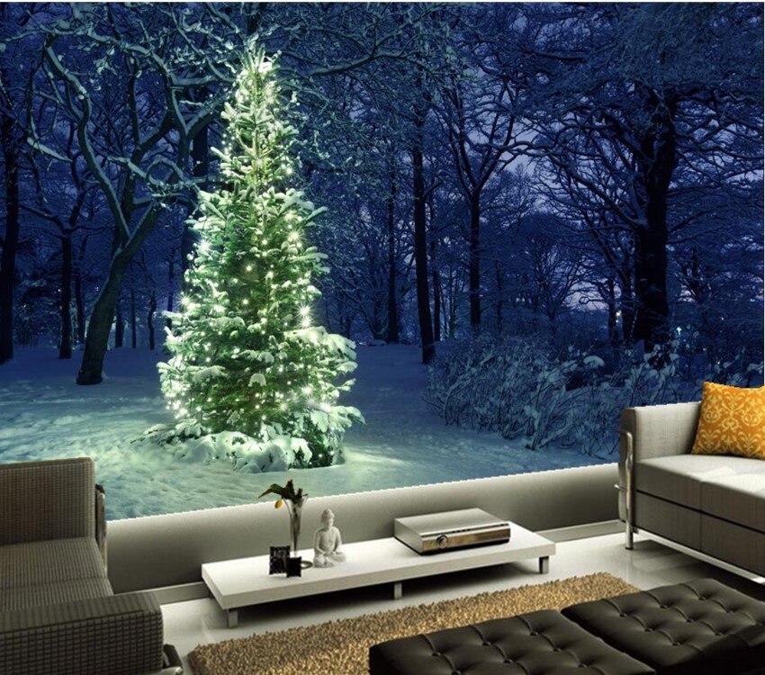 Custom 3d mural,Christmas tree Fairy lights Nature papel de parede,hotel restaurant living room sofa TV wall bedroom wallpaper<br>
