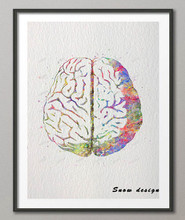 Original watercolor Human Brain canvas painting Anatomy wall art poster print Pictures living room Home Decoration giclee prints
