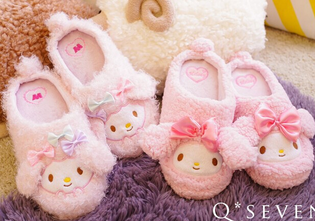 Candice guo plush toy cartoon sweet cute melody soft soled funny winter home floor slippers warm holiday girl birthday gift pair<br><br>Aliexpress