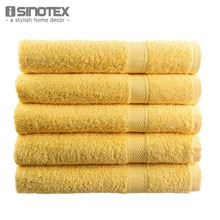 Top Selling 1 PCS/Lot Free Shipping 100% Cotton Towel Solid Yellow Plain Dyed Quick-Dry Face Towels  50*80cm Bath Towel