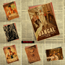 Dangal 2016 core Vintage Movie Kraft Paper Poster Indian Film Aamir Khan Actor Bar Cafe Living Room Dining room Wall Decorative