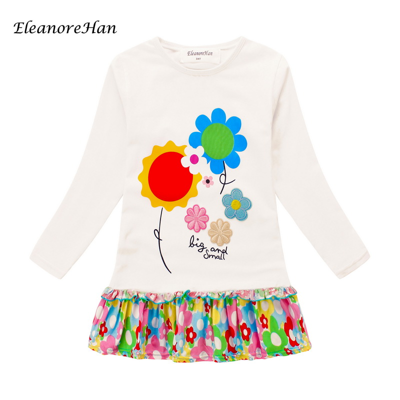 2016 New quality cotton baby girl Kids Costume girl Long sleeve Dresses Princess dress for girls Flowers Children clothes HAN001(China (Mainland))