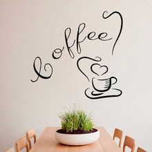 Wall Stickers Coffee Cup with Love Tea Time Drinks Kitchen Cafe Interior Design Home Art Vinyl Decal Sticker Kids Room Decor