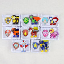 HziriP 8Pcs/lot Canine Patrol Dog + Shield Model Toys Cartoon Anime Action Patrol Puppy Doll Toy Movie TV For Children Gifts