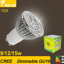 10x Cree GU10 led 9W 12W 15W  gu 10 cob led lamp Led Spotlight AC85-265V CE/RoHS Warm/Cool White,Free Shipping