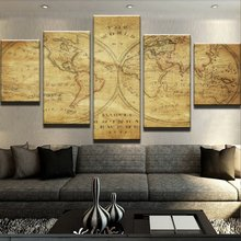 Home Decor Pictures Vintage Paintings On Canvas Posters And Prints 5 Panel Special Map Modular Pictures On The Wall PENGDA