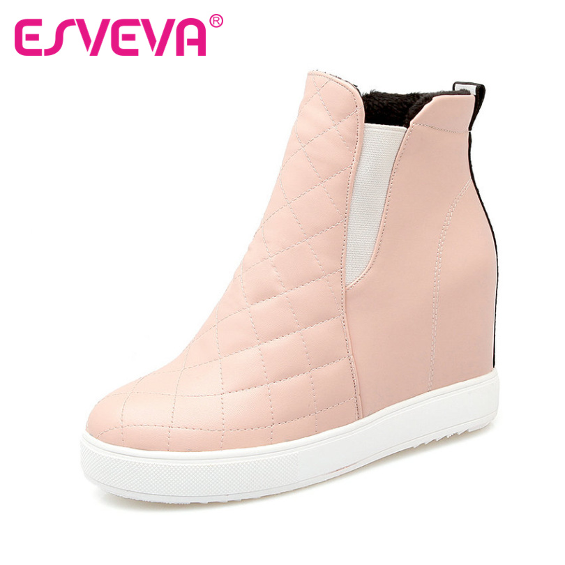 ESVEVA Pink  Slip on Fashion Shoes Patchwork Woman Wedges High Heel Ankle Boots Women Shoes Platform Short Boots Plus Size 34-43<br><br>Aliexpress