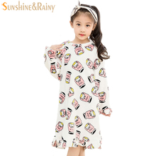 2-12T Girls Nightgown Cartoon Pattern Flannel Girls Sleepwear Long Sleeve Children Nightgown For Girls Nightdress Kids Pajamas(China)