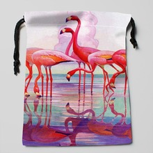 flamingos storage bags Compression Type Customized High Quality Silk soft Satin drawstring bags size 18X22cm