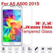New Cheap 0.26mm 2.5D 9H Tempered Glass Phone Cell Front Film Screen Protector Guard For Samsung Galaxy A5 A500 2015 A500F A 5