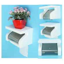 Promotion! Waterproof Toilet Paper Holder Tissue Roll Stand Box with Shelf Rack Bathroom(China)
