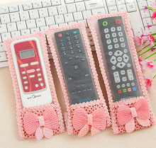 100pcs New Bowknot Design Dustproof TV Remote Control Case Air condition Remote Control Cover Textile Protective Bag 3 Size(China)
