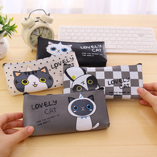 Buy Newest High PU Leather Pencil Cases Stationery School Office Cute cat Pencil Bag Students Pen Case Cosmetic bag Escolar for $1.31 in AliExpress store
