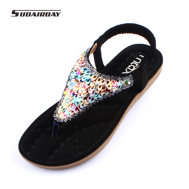 New 2017 Fashion Flip Flops flat Bohemia Style Beading Women Sandals Lovely Color sequins Summer Beach Shoes sandalias mujer<br>