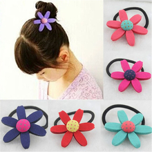 New 8 Colors Big Sunflower Girl Child Hair Rubber Band Hair Fabric Kids Clip Ring Elastic Head Rope Accessory(China)