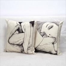 45x45cm Linen Hand Draw Sexy Women Lady Mouth Auto Seat Chair Support Pillowcase Car Cushion Pillow Cover(China)