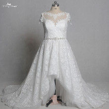 RSW1352 Real Pictures Yiaibridal Short Front Long Back Cap Sleeves Plus Size Bridal Gown High Low Wedding Dresses(China)