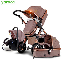 Baby Stroller 3 in 1 with Car Seat For Newborn High View Pram Folding Baby Carriage Travel System