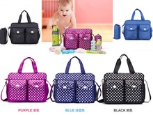 Blue/Black/Purple 3PCs Baby Nappie Diaper Dot Changing Travel Bags Set 3 Designs 29x9x40cm