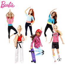 Original Barbie 6 Style Gymnastics Yoga Doll DHL81 Skateboard Movement Barbie Doll Girl Christmas Birthday Toys Gift DVF68(China)
