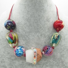 Vivid Colorways Multi Pretty Beads Collected Fashion Chunky Bead Necklace Jewelery(China)
