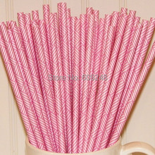 100pcs Mixed Colors Pink Weave Printed Drinking Paper Straws,Cheap Wedding Birthday Baby Shower Party Supplies Bulk Wholesale(China)