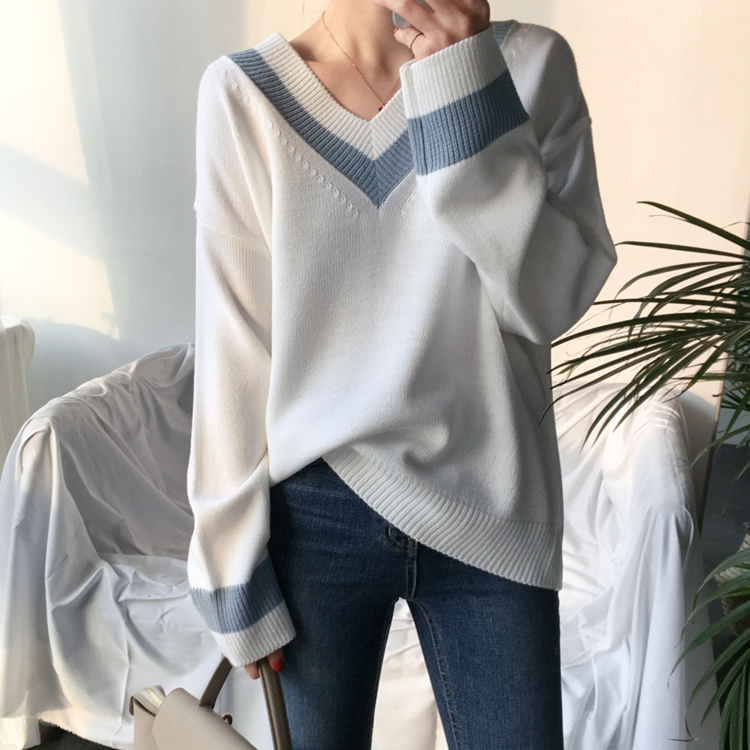 Colorfaith New 19 Autumn Winter Women's Sweaters Black White Pullover Korean Style Minimalist Casual Office Lady SW8853 3