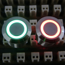 ELEWIND 16mm red green two led color ring illuminated push button switch(PM161F-10E/J/RG/12V/S 3pins for led)