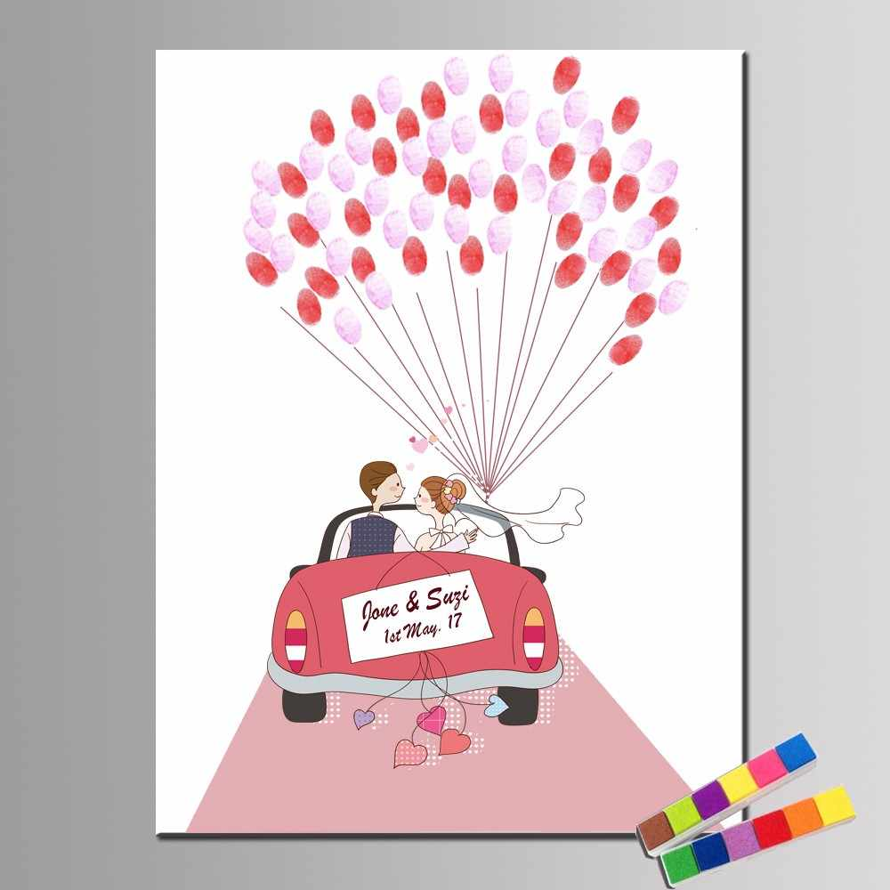 DIY Cartoon Car Fingerprint Signature Guest Book For Kids Birthday Party Decor DIY  Wedding Lover Balloon Tree Cavas Painting