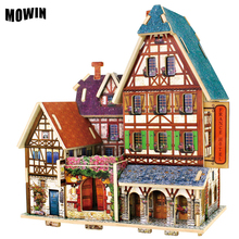 Best Quality Wood Puzzle DIY Model Jigsaw Construction Pattern Furniture Baby Toy Wooden Puzzle British House Gift Decoration