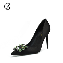 GOXEOU Womens shoes High heels Sexy pointed teo Shallow Thin heels Silk 2017 Pumps Business Party Lastest handmade free-shipping(China)