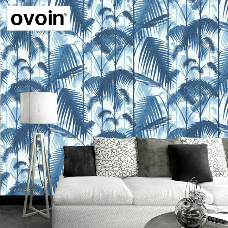 Retro Palm Leaf Jungle Tropical Wallpaper Blue Palm Tree Leaves Wall Paper Rolls Home Decoration For Living Room<br>