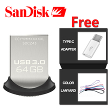 SanDisk usb flash drive 16gb metal mini pen drive 32gb 130MB/s Pendrive 64 gb usb 3.0 flash drive 128 gb with free OTG adapter(China)