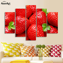 5 Panel Wall Art Strawberry Fruit Pictures Red Painting Art for Dining Room Wall Decor Canvas Prints Artwork Unframed