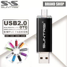 Suntrsi usb 2.0 usb flash drive 32G 64G pen drive 16G Smart Phone Tablet PC OTG external storage usb stick 8G Pendrive Free ship(China)