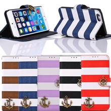 T face Retro Vintage Stripes Anchor Rudder Wallet Flip Cover Case for iphone 6 4.7 Inch Mobile phone cases Stand Back case(China)