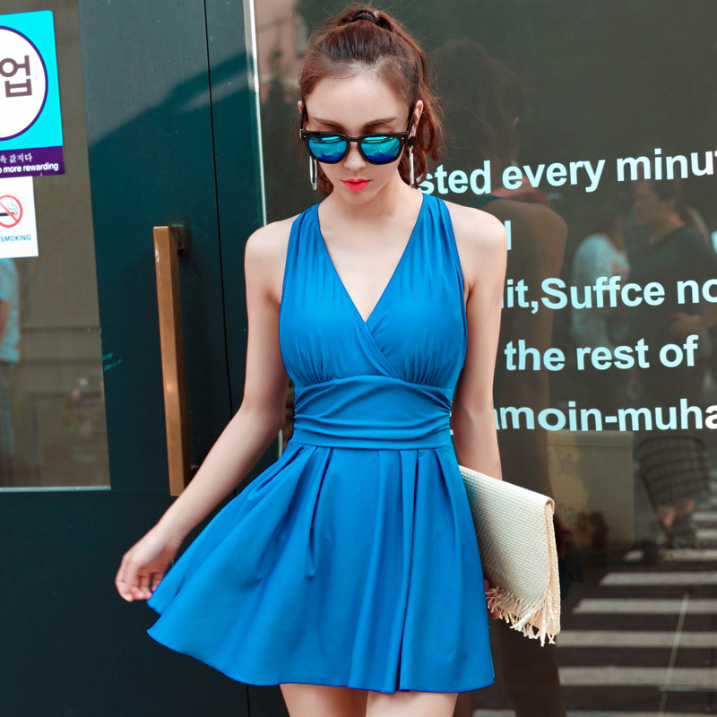 NIUMO New Swimwear woman Small chest Gather Siamese Skirt type Swimming suit Spa Swimwear<br>