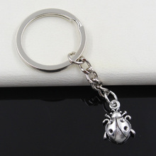 99Cents Keychain 19*13mm ladybug bug Pendants DIY Men Jewelry Car Key Chain Ring Holder Souvenir For Gift(China)