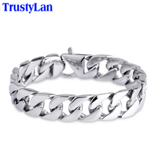 TrustyLan Glossy 316L Stainless Steel Link Chain Bracelet Men 15MM Wide Men's Bracelets & Bangles Handle Fashion Male Jewelry(China)