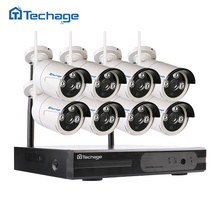 Techage 8CH CCTV System Wireless 960P NVR 8PCS 1.3MP IR Outdoor P2P Wifi IP Security Camera Surveillance Kit Phone Remote View