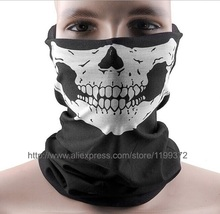 DHL Free 300pcs Skull Design Multi Function Bandana Ski Sport Motorcycle Biker Scarf Face Masks Outdoor Facial Mask Black Color(China)