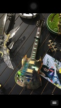 electroplate painting SG left hand relic electric guitar fret led light active pickups guitar(China)