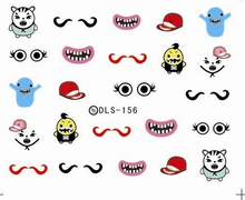 DIY Water Transfer Foils Nail Art Sticker Fashion Nails Cartoon Tooth Mustache Manicure Decals Minx Cute Nail Decorations(China)