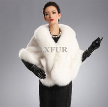 Graceful Import Mink Fur White Shawls with Fox Fur Collar Wraps Elegant Wedding Apparel & Accessory Ponchoes LX00404(China)