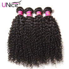 "UNICE HAIR 100% Curly Weave Human Hair Brazilian Hair Bundles Natural Color Non Remy Hair Extensions 1 Piece 8""-26"" Can Buy 4PCS"