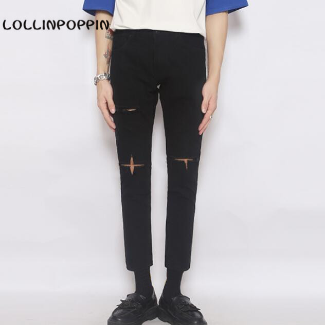 Korean Fashion Men Ripped Black Jeans Slim Denim Pants New 2017 Cross Broken Jeans Ankle Length Free ShippingОдежда и ак�е��уары<br><br><br>Aliexpress