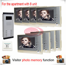 Eight / 8 Units Apartment Building Color Video Door Phone Intercom Visitor Photo Memory ( Also support SD card photo storage)