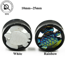 BOG-Black Acrylic Ear Tunnel Plugs Built-in White Rainbow Turtle Expanders Earlet Piercing Body Jewelry