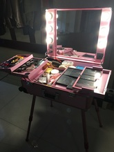 Professional 4 Wheels Rolling Makeup Cosmetic Train Case with Mirror and Lights